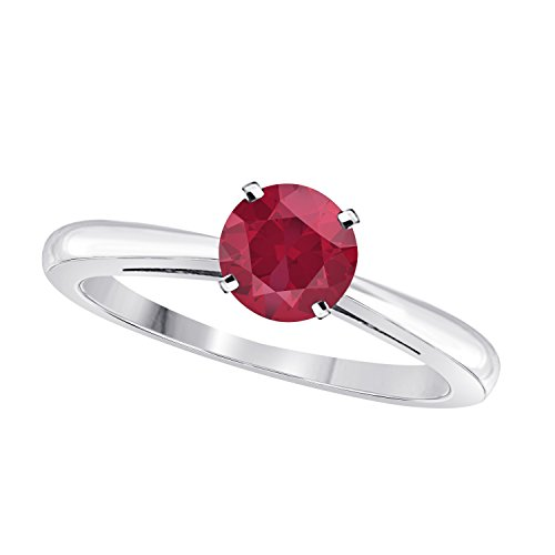 DreamJewelry Elegant 1ct Round Round Cut Solitaire Halo Created Red Ruby Wedding Engagement Ring in .925 Sterling Silver (Cut Created Ruby Solitaire Ring)