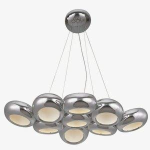 ET2 E22599-PC Donuts 9-Light LED Pendant Single-Tier Chandelier, Polished Chrome Finish, Glass, LED Bulb, 35W Max., Dry Safety Rated, Standard Dimmable, Natural Fiber Shade Material, 3450 Rated Lumens ()