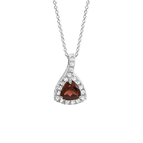 Necklace Garnet Trillion (Trillion Garnet, White Topaz Pendant for Women)