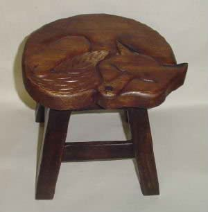 In the Garden and More Sleeping Fox Hand Carved Wooden Foot Stool