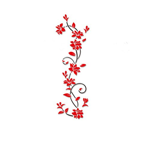 Start 3D Flower Vine Removable Wall Sticker Art Decor Decal Stickers Home Shop Windows Murals Environmental friendly Wallpaper (Red) (Vines Seal)