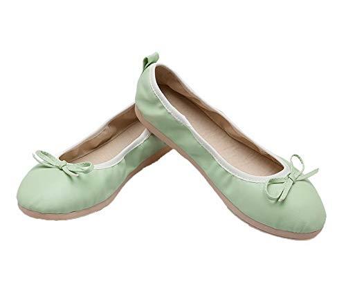 AllhqFashion Donna Tacco Verde Ballet FBUIDC010873 Tirare Chiusa Basso Flats Punta Puro rrEndfwqH