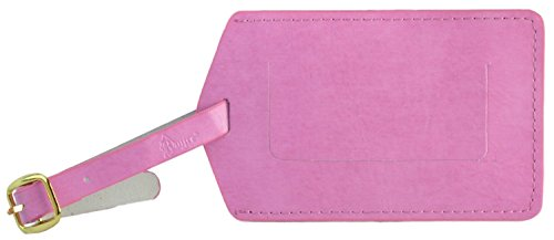 Royce Leather Classic Leather Luggage Tag (One Size, Breast Cancer Pink)