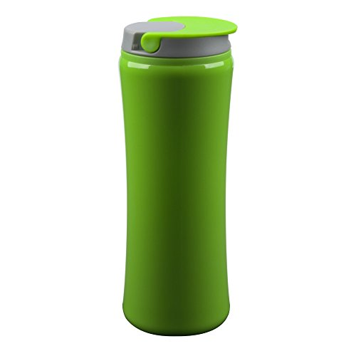 Flip Top: Double Wall Acrylic Tumbler with Screw On, No Spill Lid and Flip Closure., Lime Green Lime Green Mug