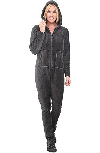 Alexander Del Rossa Womens Warm Fleece One Piece Footed Pajamas, Adult Textured Onesie with Hood