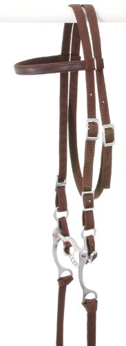 - Tough 1 King Series Nylon Browband Bridle, Brown, Horse