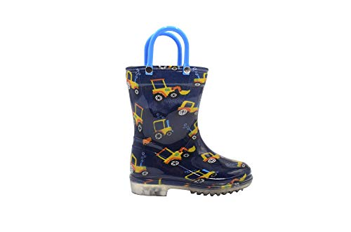 Revo Toddler Boys Rainboot Cute Animal Printed with Easy-On Handles Waterproof Shoes (7-8 M US Toddler, - Animal Handle