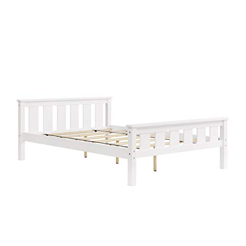 Unique Modern Bed with Headboard Footboard and Durable Mattress Slats, Sturdy Massive Pine and Rubberwood Construction, No Box Spring or Any Foundation Needed, Standard Full Size, White Color
