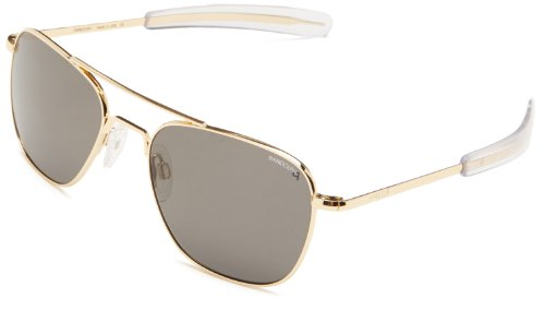 Randolph Aviator Polarized Sunglasses,23K Gold Plated/Grey 55 - Aviator Sunglasses Plated Gold