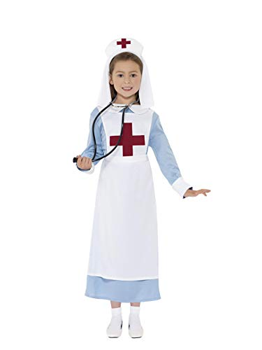 Smiffys Children's WW1 Nurse Costume, Dress, Mock Apron and Headpiece, Ages 10-12, Size: Large, Color: Blue, -