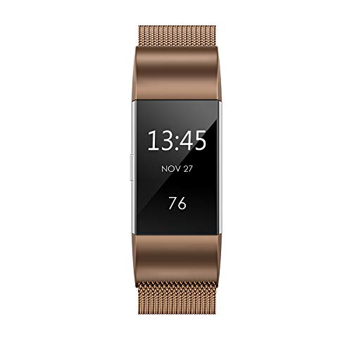 """Yutior Metal Bands Compatible with Fitbit Charge 2, Stainless Steel Metal Magnetic Replacement Wristband Small & Large (5.5"""" - 9.9"""") for Women Men, Silver, Champagne, Rose Gold, Black, Colorful"""