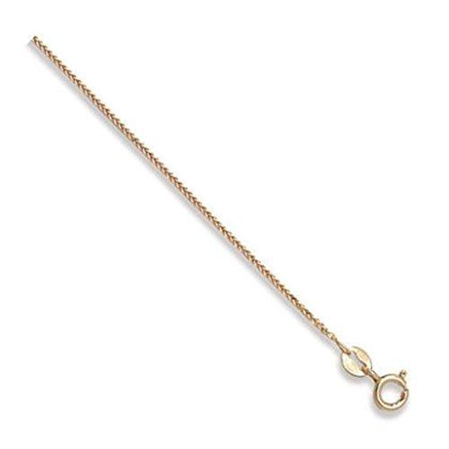 Jewellery World Bague en or jaune 9carats Plat blé chaîne collier-1mm d'épaisseur-Différentes longueurs-16, 18, 20, 22et 61cm Long