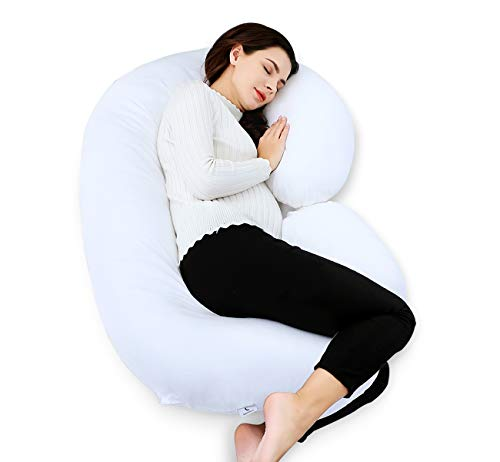 Marine Moon Pregnancy Pillow C Shaped, Full Body Pillow with 59″ Cotton Cover