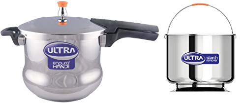 ULTRA Elgi Endura Stainless Steel Handi Pressure Cooker with Starch Remover  8 L, Silver