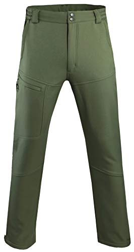 Pants Trousers Lined - Men's Warm Fleece Lined Pants Softshell Outdoor Hiking Ski Water Resistant Windproof Trousers Army Green