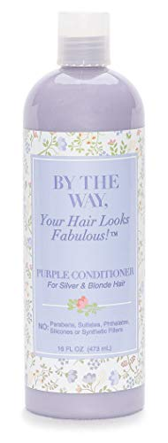 Purple Conditioner by The BTW Co. for Silver, Gray & Blonde Hair: Brighten and Remove Yellow or Brassy Tones with No Sulfates, No Parabens - 16 ounce - Cruelty-Free for Color-Treated and Natural Hair (Remove Hair Gray Shampoo)