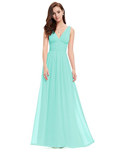 Maxi Sleeveless Sky V Blue 09016 Neck Ever Semi Formal Pretty Evening Dress qYxwvB6U5W