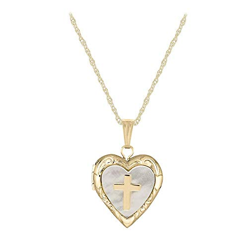 - Child Jewelry - 14K Yellow Gold Mother of Pearl Cross Heart Locket Necklace (15 in)