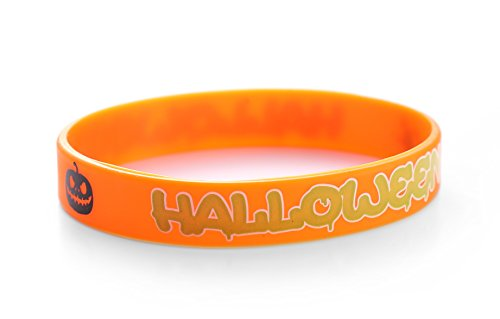 Sussex Supplies Halloween Trick Or Treat Orange Silicone Wristbands (Pack of 10)