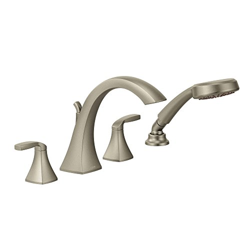 Moen T694BN Voss Two-Handle High Arc Roman Tub Faucet Includes Hand Shower, Brushed Nickel by Moen