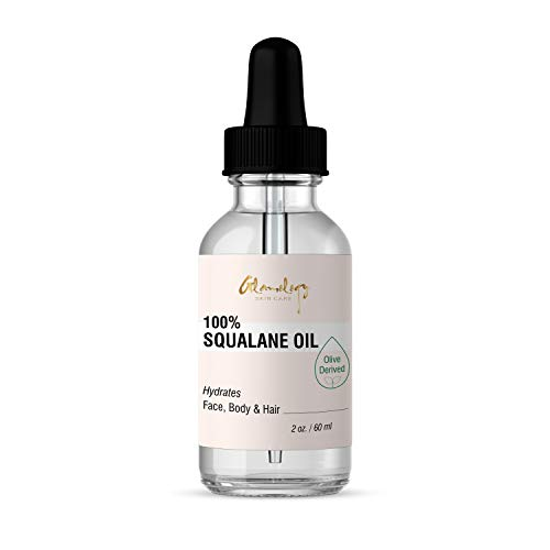 Glamology Squalane Oil (Olive Derived) - 100% Pure (2 oz) Face, Body & Hair Oil Moisturizer for All Natural Dry Skin Hydration! Reverse Aging (2 fl. oz.) ()