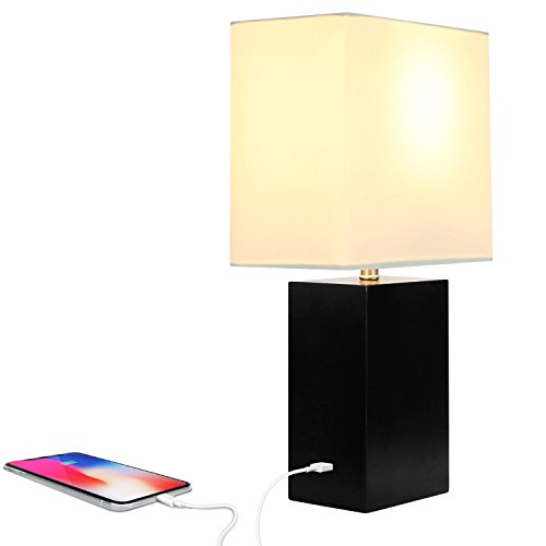 Brightech Mode LED USB Side Table & Desk Lamp – Modern Lamp for Bedroom, Living Room or Office with Ambient Lighting, Unique Lampshade & Useful USB Port Perfect Bedside Nightstand Light- Black by Brightech