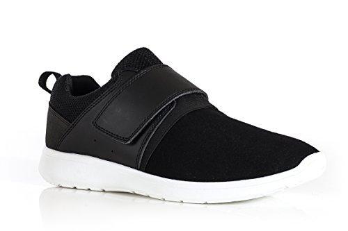 Zapatillas Running Hombre Zapatos Casual Con Cordones Roshe Ligero Deportes Gimnasia (UK10, Negro) Negro/Blanco