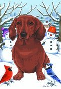 Dachshund Red – by Tomoyo Pitcher, Winter Themed Dog Breed Flags 12 x 18 Review