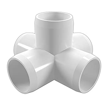 """FORMUFIT F0125WC-WH-10 5-Way Cross PVC Fitting, Furniture Grade, 1/2"""" Size, White (Pack of 10)"""