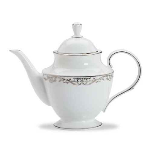 Lenox Coronet Platinum Bone China Teapot by Lenox