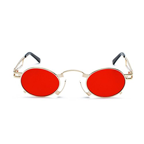 redondas metálico Marco Men pequeñas sunglasses Película marco Yefree ovaladas de sol Vintage de Dorado UV400 sunglasses gafas Rojo gafas qXww7a
