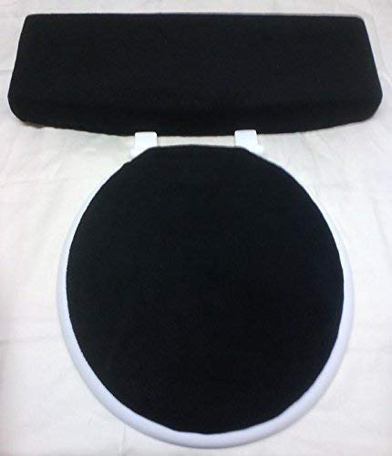 (Black Fleece Fabric COVER Toilet Seat Lid and Tank Top)