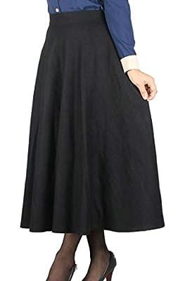 M&S&W Women's Skater Swing Plaid Wool Blend Casual Flared Maxi High Waist Skirt