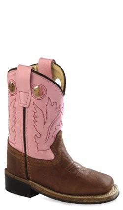 Old West Pink Toddler Girls Leather Buckaroo Broad Square Toe Cowboy Boots 8 D