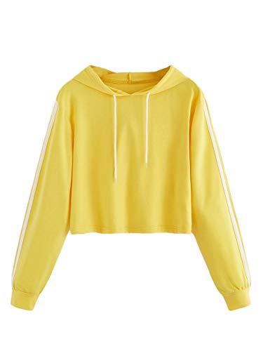 Womens Lightweight Pullover Hoodies - MAKEMECHIC Women's Casual Striped Crop Top T-Shirt Long Sleeve Pullover Hoodies Yellow S