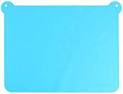 FSHB Farbige Silikon Geschirr Matte Kinder Essen Pad Mit Doppelohren Tischset Backformen Backen Gebäck Werkzeuge 21 * 4,2 cm, blau