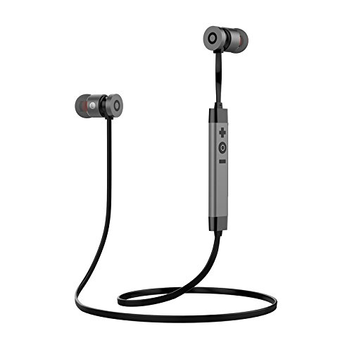 Bluetooth Headphones,LEYOUDY Wireless V4.1 Metal in-Ear Stereo Earphones Sweatproof Sports Earbuds with Mic (Support Hi-Fi Music,HD Calling)(Silver Gray)