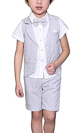 Yilaku Toddler Boys Summer Suits Set Vest + Pants + Shirt + Bow Tie 4 Pieces Plaid Shirt Clothing Set - Gray - 18-24Month