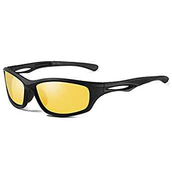 Laura Fairy Polarized Sports Sunglasses TR90 Silver Unisex Running Cycling Fishing (A-black yellow)