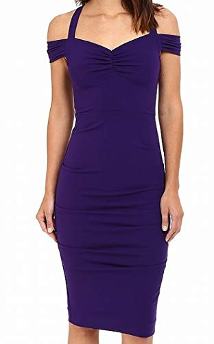 Nicole Miller Women's Off Shoulder Susie-Q Sweetheart Dress Majestic Purple 10