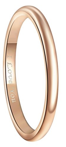 Crownal 4mm 18K Rose Gold Plated Tungsten Wedding Couple Bands Rings Women Plain Dome Polished Engraved