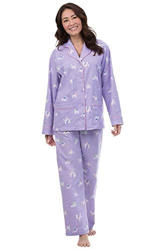 PajamaGram Cat Pajamas for Women - Flannel Cat PJs for Women, Lavender, XL, 16 (Lovers Shop Pet)