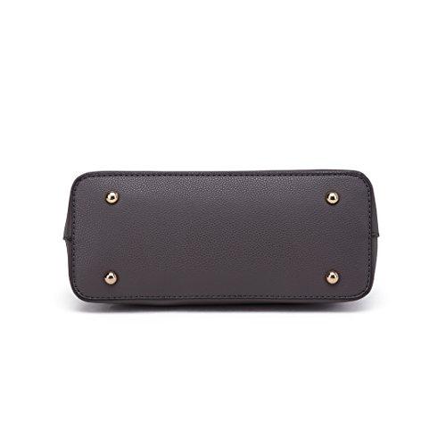Miss LuLu Damen Handtasche Umhängetasche Tote Bag Schultertasche Shopper Reise Freizeit (Dunkelgrau)