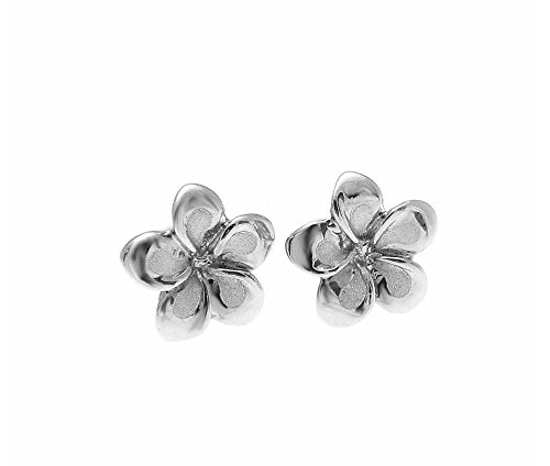 (14K solid white gold Hawaiian 7mm tropical plumeria flower stud earrings)