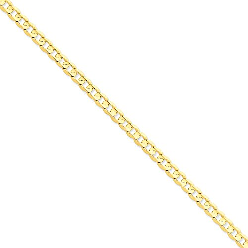14k Yellow Gold 6.75mm Open Concave Curb Chain 9'' Men's Bracelet by Jewelplus
