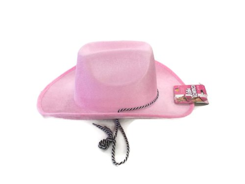 - Faerynicethings Deluxe Adult size Pink Velvet Felt Cowboy Hat - Cancer Awareness Accessory