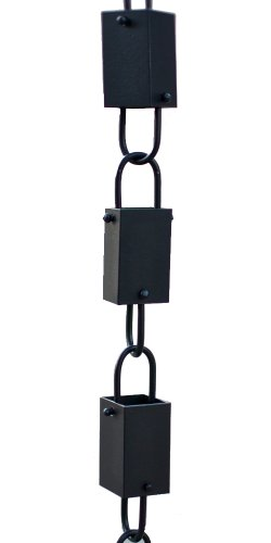 Square Link Rain Chain (Black) By Rain Chains Direct (8.5 FT)