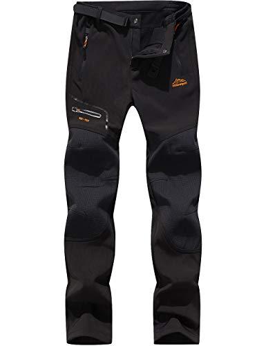 DENGBOSN Homme Pantalon Softshell Imperméable Pantalon Randonnée Thermique Étanche Coupe-Vent Hiver Automne Pantalon de Montagne Escalade Ski