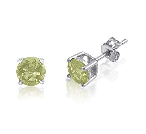 honjejewelry Stud Earrings Genuine Birthstone Sterling Silver 925 Basket Set 5mm Gemstones for Women 1 Pair (Lemon Lime Quartz)