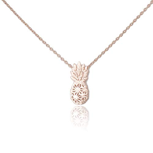 (My Very Best Dainty Pineapple Necklace Be A Pineapple_Stand Tall. wear a Crown, and be Sweet on The Inside. (Rose Gold Plated Brass))